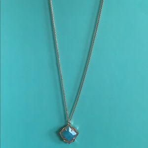 Kendra Scott Kacey Teal Quartz rose gold necklace